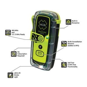 ACR RESQLINK 400 PLB-400 Class 2 Manual Buoyant Personal Locator Beacon, 16.4 ft at 1 hr, 33 ft at 10 min, ACR-Treuse (High Visibility Yellow)|2921