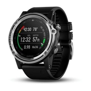 GARMIN Descent Mk1 Fiber Reinforced Polymer Case 1.2 in Dia Sunlight-Visible Transflective Memory-In-Pixel (MIP) Display Versatile GPS Dive Computer, 240 x 240 pixel, Silver Sapphire with Black Band|0
