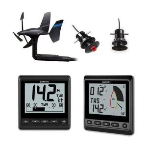 GARMIN GNX 4 in Monochrome LCD Display IPX6 and IPX7 Flat or Flush Mount Wireless Sail Pack with 43 mm Transducer, GNX Wind Instrument and GNX 20 Instrument|010-01616-30