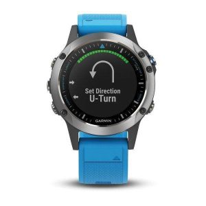 GARMIN quatix 5 1.2 in Dia 240 x 240 pixel Color Sunlight-Visible Transflective Memory-In-Pixel (MIP) Display 10 ATM Multisport Marine GPS Smartwatch, Stainless Steel with Blue Band|010-01688-40