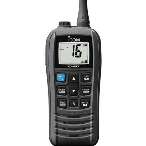 ICOM Handheld VHF Marine Transceiver with Battery and Charger, 6/1 W, LCD Display|M37