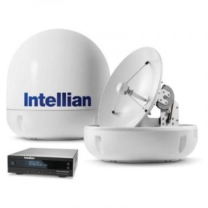 INTELLIAN i4 Marine Satellite TV Antenna System with All Americas LNB, 21.2 in H x 19.7 in Dia, 17.7 in Reflector|B4-409AA – SHIPPING CHARGES APPLY