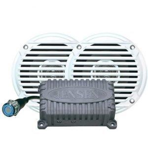 JENSEN 80 W 2-Channel Waterproof Bluetooth Amplifier with JAHD240BT Bluetooth Amplifier/MS5006W 5 in Waterproof Speakers|CPM50