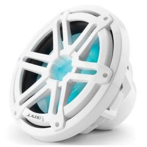 JL AUDIO M3-10IB-S-Gw-i-4 10 in 175 W 4 Ohm Marine Subwoofer Driver with RGB LED Lighting, Gloss White Sport Grille|93531