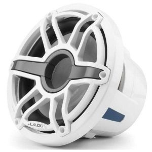 JL AUDIO M6-10IB-S-GwGw-4 10 in 250 W 4 Ohm Infinite Baffle Marine Subwoofer Driver, Gloss White Trim Ring and Sport Grille|93635