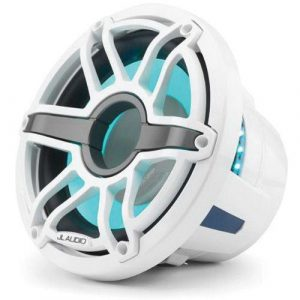 JL AUDIO M6-10IB-S-GwGw-i-4 10 in 250 W 4 Ohm Infinite Baffle Marine Subwoofer Driver with Transflective LED Lighting, Gloss White Trim Ring and Sport Grille|93636
