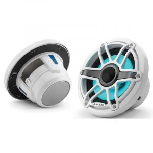 JL AUDIO M6-650X-S-GwGw-i 6-1/2 in 75 W 4 Ohm 2-Way Marine Coaxial Speaker with Transflective LED Lighting, Gloss White Trim Ring and Sport Grille 93726