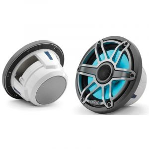 JL AUDIO M6-770X-S-GmTi-i 7.7 in 100 W 4 Ohm 2-Way Marine Coaxial Speaker with Transflective LED Lighting, Gunmetal Trim Ring and Titanium Sport Grille 93604