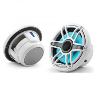 JL AUDIO M6-770X-S-GwGw-i 7.7 in 100 W 4 Ohm 2-Way Marine Coaxial Speaker with Transflective LED Lighting, Gloss White Trim Ring and Sport Grille|93602