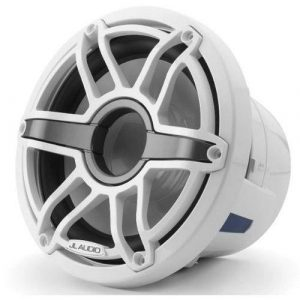 JL AUDIO M6-8IB-S-GwGw-4 8 in 200 W 4 Ohm Marine Subwoofer Driver, Gloss White Trim Ring and Sport Grille|93617