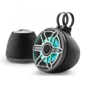 JL AUDIO M6-650VEX-Mb-S-GmTi-i 6-1/2 in 75 W 4 Ohm Marine Enclosed Coaxial Speaker System with Transflective LED Lighting, Matte Black Enclosure, Gunmetal Trim Ring and Titanium Sport Grille|93411