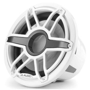 JL AUDIO M7-12IB-S-GwGw-4 12 in 600 W 4 Ohm Marine Subwoofer Driver, Gloss White Trim Ring and Sport Grille|93671