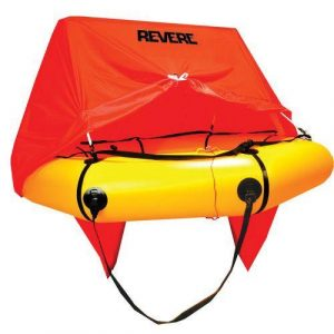 REVERE Coastal Compact 20 x 14 x 7-1/2 in 6-Persons Life Raft with Canopy, Yellow, Valise|45-CC6VP