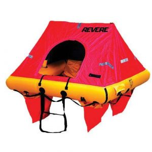 REVERE Coastal Elite 25 x 18-1/2 x 10 in 4-Persons Life Raft with Canopy, Red/Yellow, Valise|45-CE4V