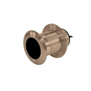 AIRMAR B117 600 W 50/200 kHz Bronze Urethane Window 33 ft Cable Mix and Match Depth/Temperature Through-Hull Mount Dual Frequency Transducer| B117-DT-MM